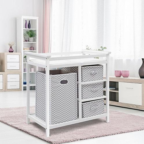 Infant Changing Table with 3 Basket Hamper Diaper Storage