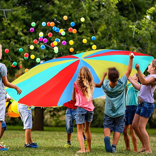Outdoor Kids Folded Play Parachute with 8 Resistant-Handles