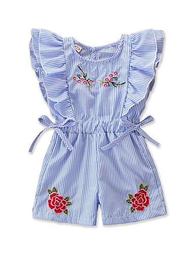 Baby Girls' Active / Basic Striped / Floral Bow / Ruffle / Floral Style Sleevele