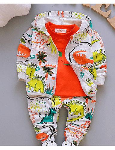 Baby Boys' Basic Daily Print Long Sleeve Regular Cotton Clothing Set Green / Tod