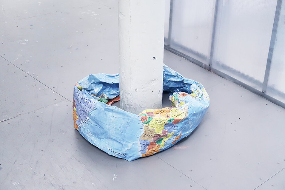 IF THE EARTH WERE A SHAPE OF DONUT, 2019, World map, 25 x 25 x 10 inches