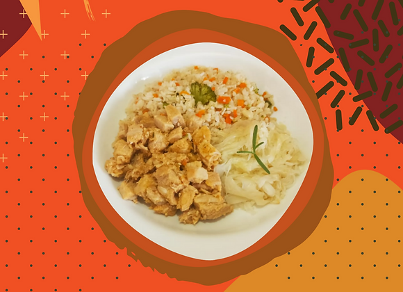 Lombinho com arroz colorido - adulto