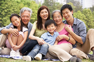Portrait Of Multi-Generation Chinese Fam