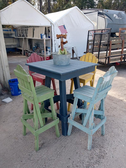Tiki Table with Four Chairs