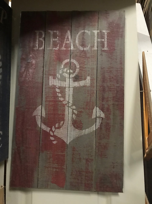 """14x20""""Handpainted Sign """"Beach"""" with anchor"""