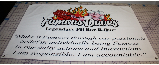 Famous Daves Credo banner print