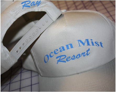Ocean Mist Resort custom hat lettering p