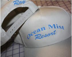 Ocean Mist Resort custom hat lettering p