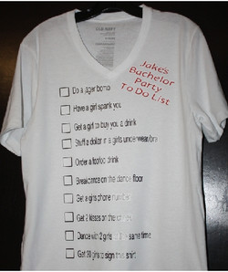 Jakes Bachelor Party to do list custom t