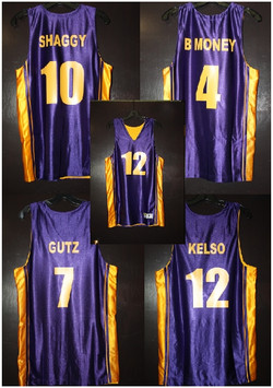 purple & gold basketball team custom jer