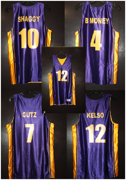 purple & gold basketball team custom jer