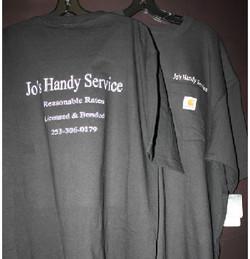 Joes Handy Service tshirt lettering Puya
