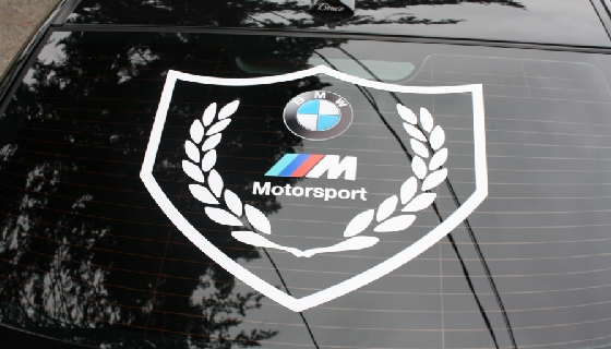 bmw motorsport shield custom car window
