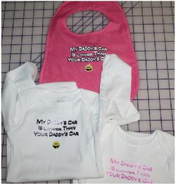 My Daddys Car Lower custom baby onesies