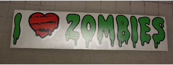 I heart Zombies dripping slime art stick