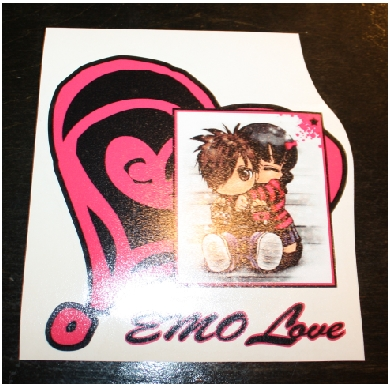 EMO love heart custom sticker decal
