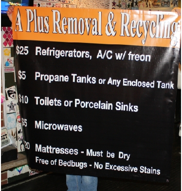 A Plus Removal & Recycling Pricing Menu