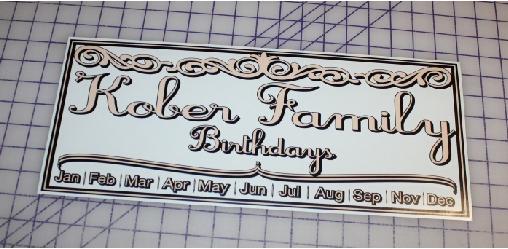 Kober Family Birthdays custom decal for