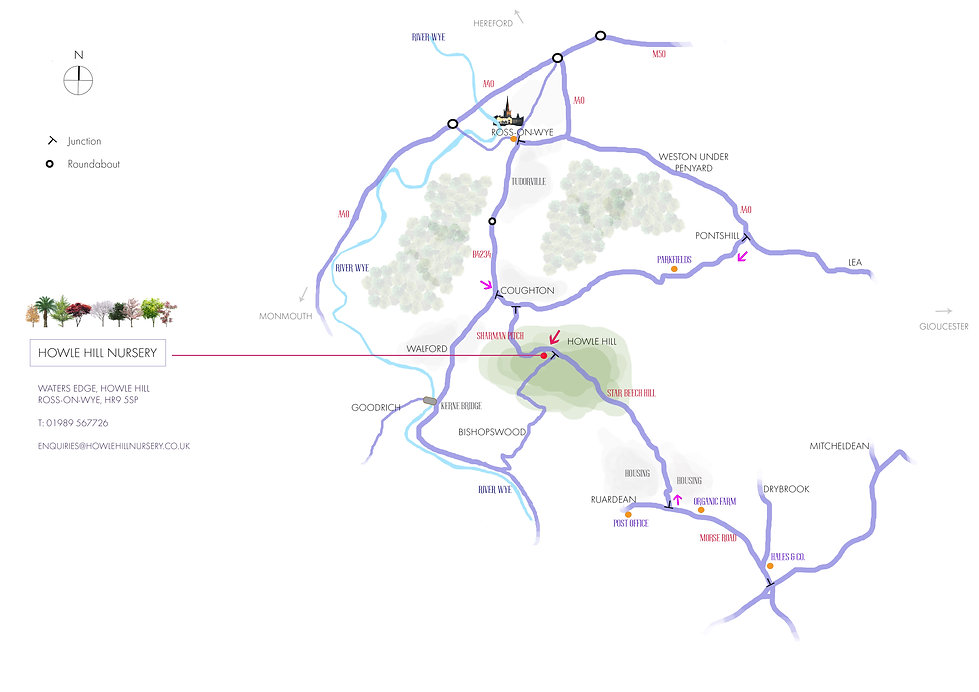 map of directions to howle hill nursery, ross-on-wye