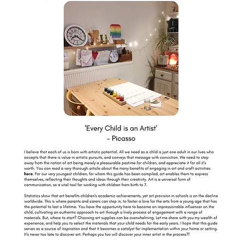 Art Materials Taster Pages