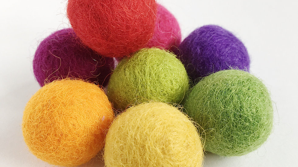 Vibrant Coloured Wool Felted Balls