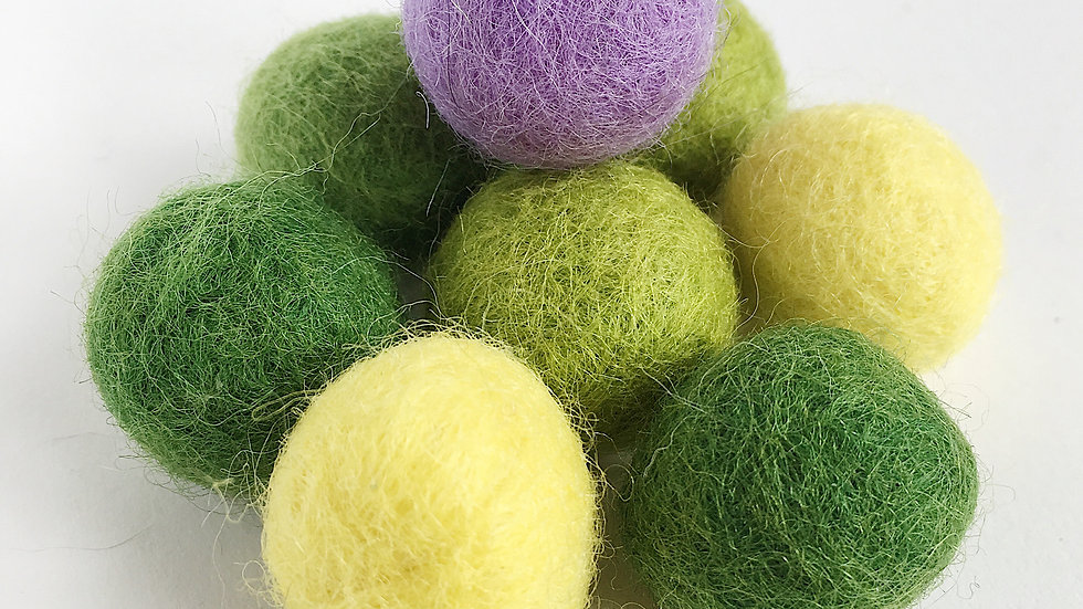 Spring Coloured Wool Felted Balls