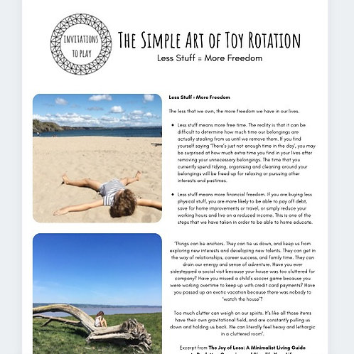 The Simple Art of Toy Rotation Taster Pages