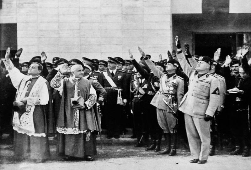 Ceremony at Guidonia, November 1937. In the forefront: Monsignor Bartolomasi, General Giuseppe Bottai, General Giuseppe Valle, Benito Mussolini