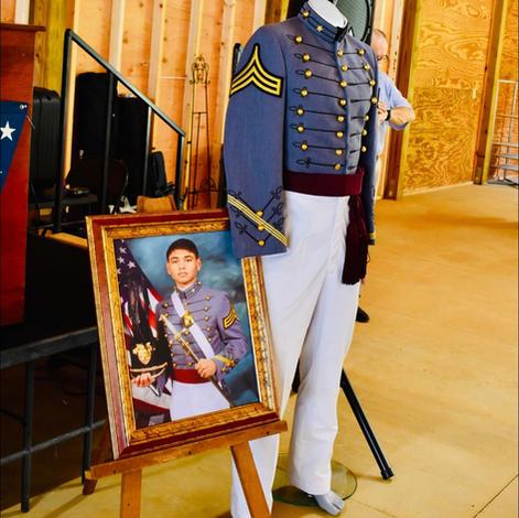 Cadet Patel pic and West Point cadet uniform on display at CTaC pavilion.
