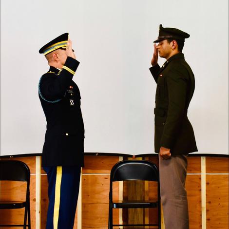 LTC Priatko swearing in Lt Patel.
