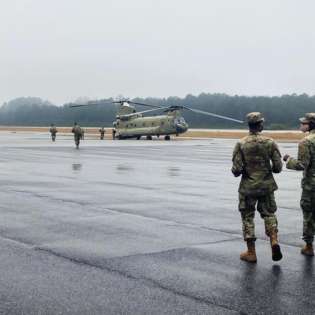 603D members walking to Chinook at Toccoa