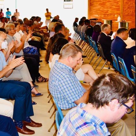 Over 100 attend Lt Patel ceremony at CTaC pavilion June 12 2021.