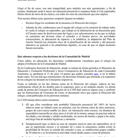 Carta del AFA a las Familias. Julio 2020