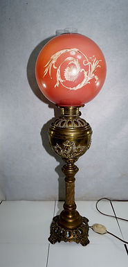 Banquet Brass Lamp With Red Ball Shade