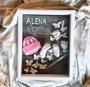 Personalized newborn collage box hand painted birt stats and keepsakes designe to match nursery