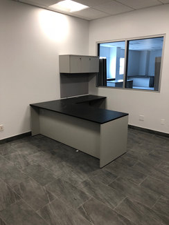 L shape desk & floating cabinets assembly