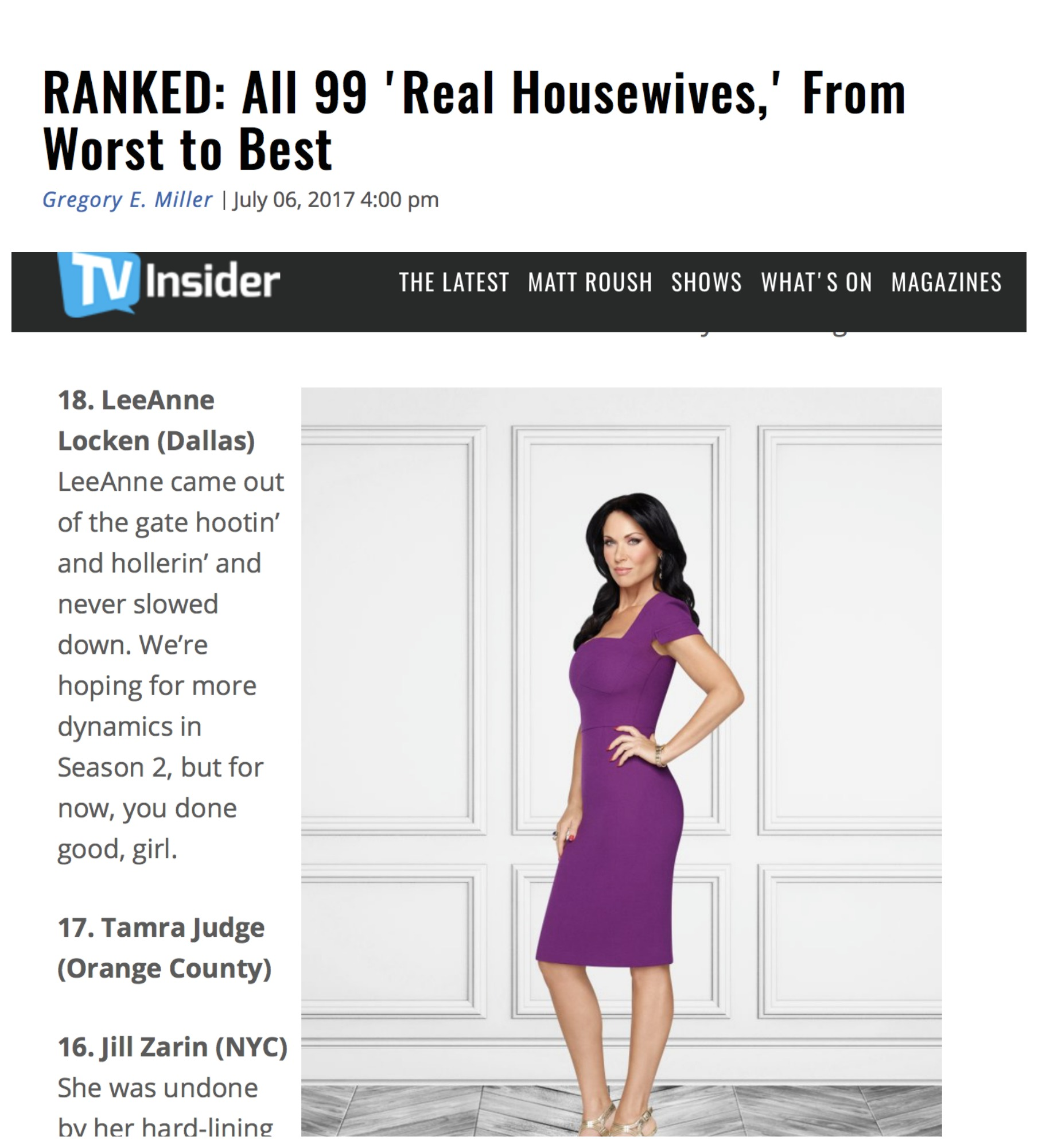 TV Insider Housewives Ranked
