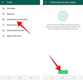 Ativar 2 etapas Whatsapp