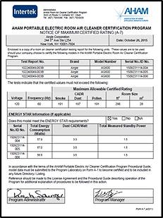 Airgle AHAM Certificate