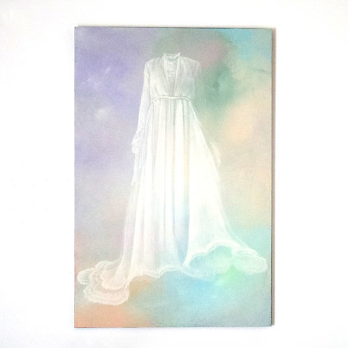 アクリル画「Queen's dress with her breath」