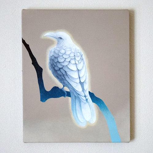 アクリル画「白いカラス」