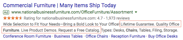 Example of callout ad extensions.