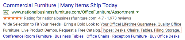 Example of structured snippet ad extension.
