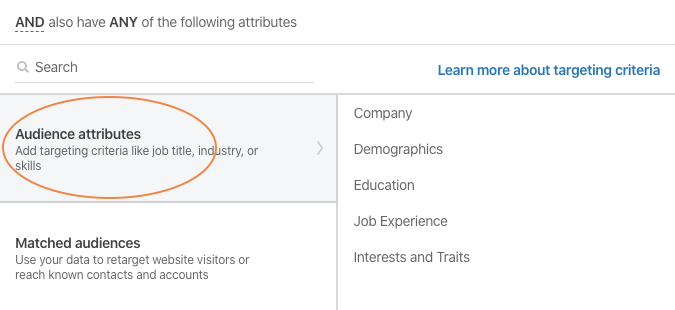 Targeting by audience attributes when launching LinkedIn campaigns.