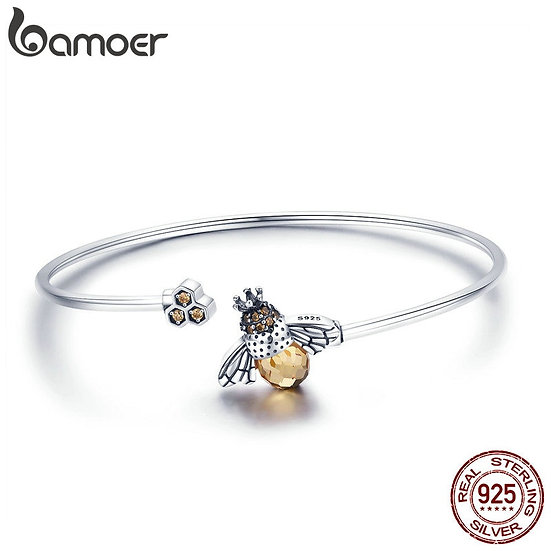BAMOER 925 Sterling Silver Crystal Bee and Honeycomb Women Silver Bracelets