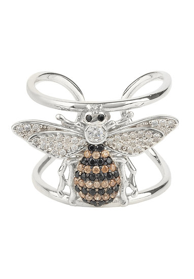 Honey Bee Cocktail Ring Adjustable Silver