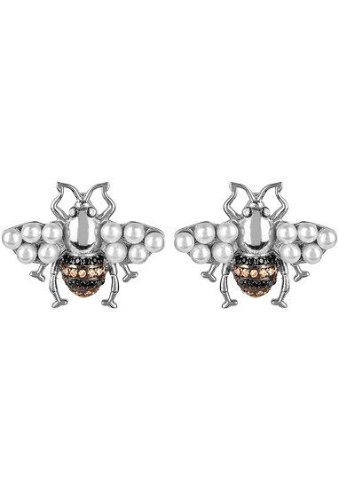 Honey Bee Pearl Stud Earrings Silver