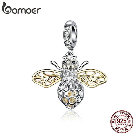 BAMOER Genuine 925 Sterling Silver Clear Zircon Bee Charms