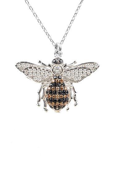 Honey Bee Pendant Necklace Silver