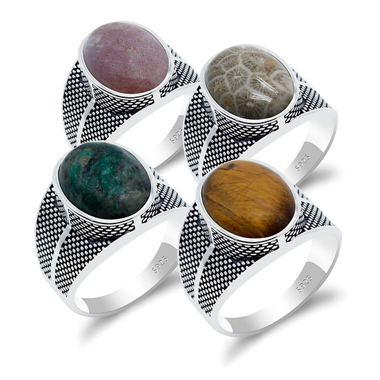 925 Sterling Silver Men Ring With Natural Coral/India Agate/Tiger Eye Stone